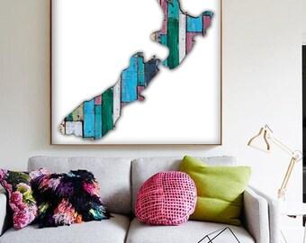 New Zealand Map Digital Art Print