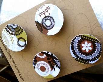 Magnets, Set of 4, Raised, Paper, Decoupage, Floral, Flower, Art, Graphic, Pattern, Modern, Brown, Green, Black, White, Gray