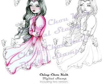 Vlinders vliegen - afdrukbare Instant Download digitale stempel / Butterfly Gem godin Lady vrouw meisje kunst door Ching-Chou Kuik