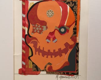 "12""x16"" matted Painting and collage on paper ""Sugar Punk Skull pink/orange series #5"" 2017"