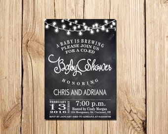 Co-Ed Baby Shower Invitation, A Baby Is Brewing Baby Shower Invitation, A Baby Is Brewing Invitation,  Baby Shower Invitation, Co-Ed