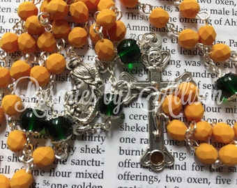 Saturated Pumpkin fire polished and Green Emerald Czech glass bead rosary with silver plate Madonna & Child center and Catacombs crucifix