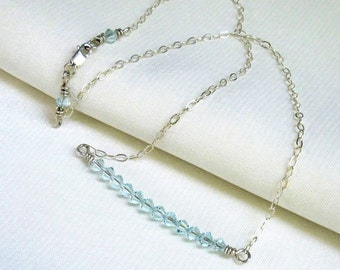 Aqua Crystal Bar Necklace, Sterling Silver Wire Wrapped Swarovski Crystal Stack, Handmade Jewelry March Birthday