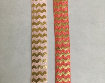 Pink/Coral Gold Metallic Chevron Print Elastic Ribbon, 3 yards, 1/2 inch