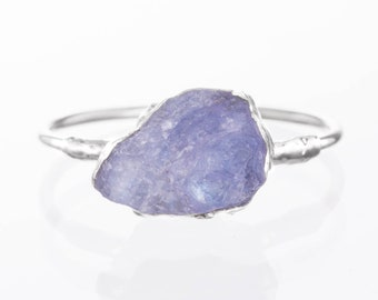 Rough Stacking Ring, Sterling Silver Raw Tanzanite Ring, Rough, Boho Ring, Raw Crystal Ring, December Birthstone Gold Gemstone Ring Stacking