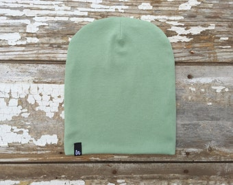 Organic Slouchy Beanie Mint Beanies for Babies Green Slouchy Hat Knit Baby Hat Mint Winter Hat Stretch Baby Slouch Beanie Organic Baby Hat