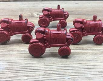 SET OF 4 Barn Red Tractor Metal Knob - Farm Drawer Pull - Nursery Decor - Country Kitchen Cabinet Decor - Decorative Knob