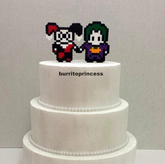 Cake Topper Joker And Harley Quinn Wedding Cake Topper - Comic Book Wedding Cake