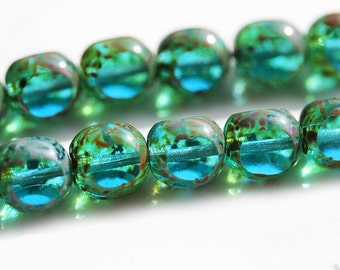 Picasso Aqua Blue Czech glass beads fire polished round cut 8mm blue green glass beads - 20pc - 2838