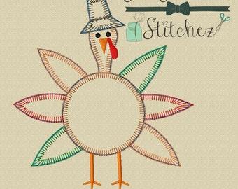 Boy Turkey Applique Design ~ Buttonhole Finish Stitch ~ Instant Download