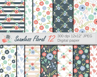 Seamless Floral Digital Paper, Mint and Coral Flowers Seamless Pattern, Mothers Day Scrapbook Paper, Download