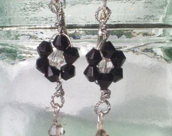 Black and White Crystal Flower Silver Lever-Backed Earrings by hipknitta