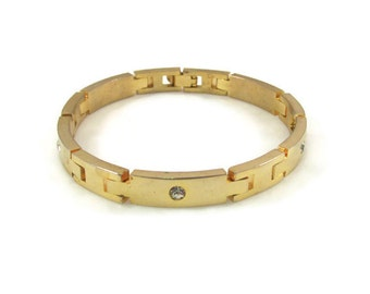 Gold Bracelet Crystal Bracelet Diamond Bracelet Rhinestone Bracelet Gold Link Bracelet Vintage Bracelet Simple Bracelet Gift For Her