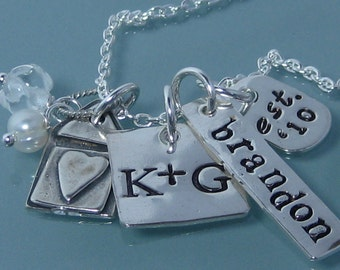 Home Is Where The Heart Is - Custom Hand stamped family necklace