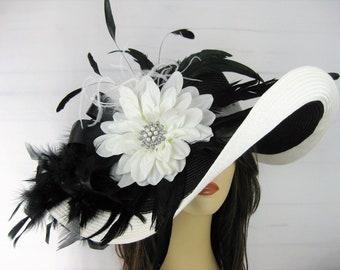 Black White Extra Wide Brim Floppy Kentucky Derby Straw Hat Jeweled Flower Feather