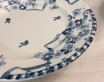 Antique French Ironstone LONGWY cake stand, Footed Plate, Longwy Blue Floral Print Transferware