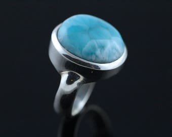 Strong Blue Larimar Ring, Size 8.5, Solid Sterling Silver Bezel Set, Thick Silver Setting, Dominican Republic Stone LLR18