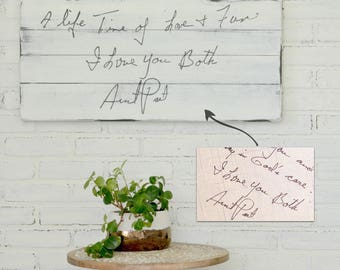 Handwriting Wooden Sign Custom Handwriting Sign Handwriting Gift Farmhouse Sign Handwriting Decor Rustic Home Decor Distressed Wood Sign