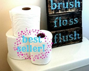 Wash Brush Floss Flush Rustic Wood Bathroom Sign Decor