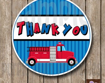 Instant Download - Fire Truck Party Favor Tag - Fireman Birthday - Print at Home