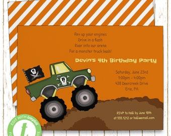 Monster Truck Invitation | Kids Birthday | Printable Editable Digital PDF File | Templett | KBI298DIY