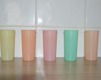 Five - pastel colors - vintage kitchen or picnic retro Tupperware cups - party