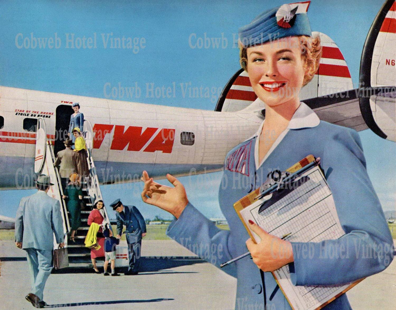 Vintage TWA Stewardess Instant Download Travel