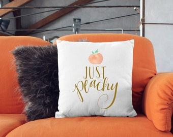 Just Peachy Cute Peach Illustrated Handlettered 18 X 18 Square Couch Bed Throw Pillow