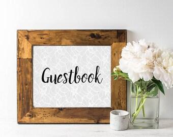 Printable Guestbook Sign - Printable Wedding Sign - Guestbook Sign - Gray Wedding Decor - Lace Wedding Decor - Winter Wedding - Modern SIgns