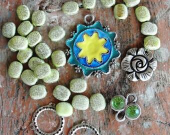 Potpourri Bead lot, Lime Green destash lot, Enamel, Rhinestones, vintage and new beads, earrings, Pendants
