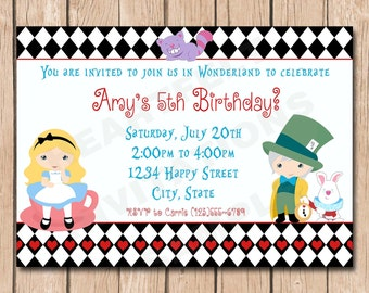 Alice in Wonderland Birthday Party Invitation - 1.00 each printed