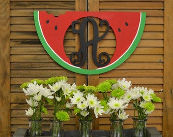 Unfinished Watermelon Monogram! Great for the front door! Perfect for summer!