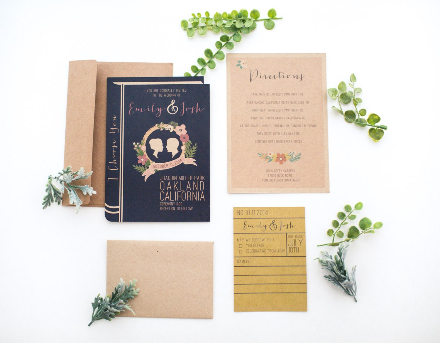 Library book wedding invitation set