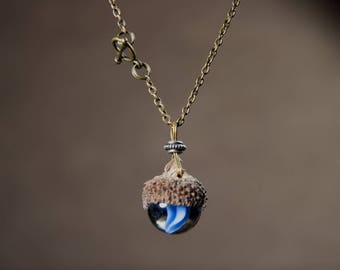 Nature lover jewelry, acorn necklace, blue marble pendant, natural, cute, fun, blue cat eye marble