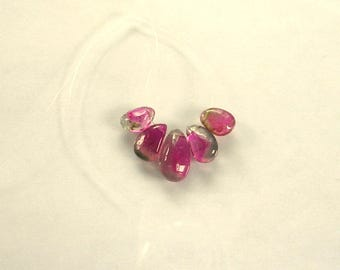 Watermelon tourmaline slice beads 8-12mm 8.1ct 5 pieces