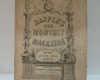 Rare 1860 Harper's New Monthly Magazine