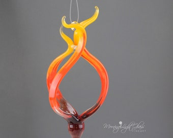 Flames - Abstract Glass Ornament - Lampwork Sculpture