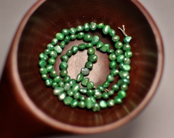 Natural Nuggets Freshwater Pearl Beads Gemstone Light Green Color. 4-6 mm. 97pcs