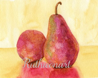 Pear Print from an Original Watercolor