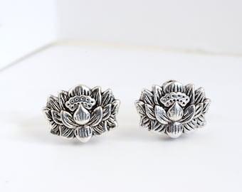 Lotus Stud Earrings, Silver Lotus Flower Earrings, Lotus Jewelry