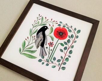 Blackbird Poppy -  Watercolor bird print  , botanical illustration , Poppy art , botanical birds , 8 x 8 inch print