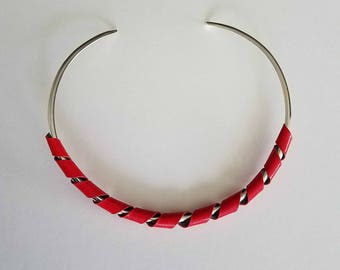 red and silver choker necklace,  silverplated choker, choker necklace, adjustable