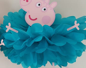 George Pig Party decoration/Peppa Pig birthday Decoration/Pig Party Supplies/Pompom Decoration George Pig Backdrop Prop