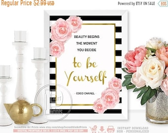 ON SALE Coco Chanel, Beauty Begins The Moment You Decide to be Yourself , Gold, Striped, Quote Gold Foil Print Art Typography, INSTANT Downl