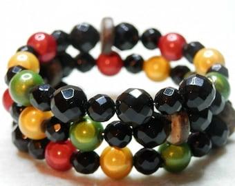 Rasta colored glass beads and Onyx bracelet