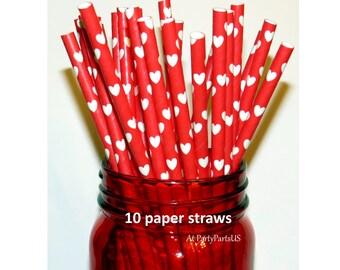 red heart straws, nursing school graduation decorations, red and white, bridal shower ideas, wedding decor, bar supplies, romantic, party