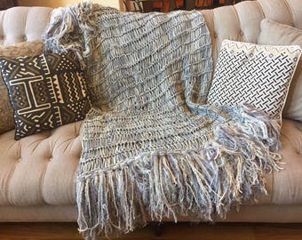 Afghan Cream and Grey Throw Blanket Grey and Cream Blanket Ivory Silver Knit Throw Blanket