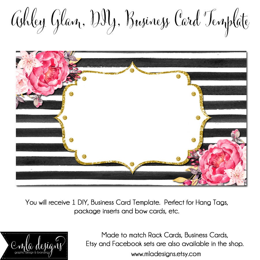 Free Blank Business Card Templates: DYI Blank Business Card Template Ashley Glam Made To Match