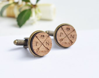 Groom Cufflinks, Personalised Cufflinks, Wood Cufflinks, Personalized Wedding Cufflinks, Cufflinks for Groom, Groom Gifts, Custom Cufflinks