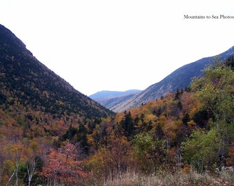 White Mountains, Crawford Notch, 5x7 landscape photo, New Hampshire autumn decor, country home decor, mountain view, fall leaves, gift idea